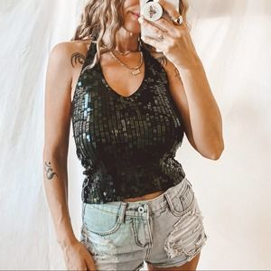 52 weekends Black Square Sequin halter top